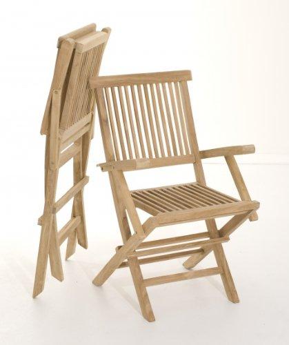 MACABANE 500969 Lot de 2 fauteuils Java Couleur Brut en Teck Dimension 55cm X 60cm X 90cm