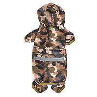 Veste de Pluie Imperméable pour Chien - BADALINK Vêtements Imperméables à Capuche Étanche Anti-UV Chien Manteau Poncho pour Petit Moyen Chien Chiot Taille S Couleur Camouflage