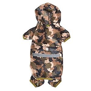 Veste de Pluie Imperméable pour Chien - BADALINK Vêtements Imperméables à Capuche Étanche Anti-UV Chien Manteau Poncho pour Petit Moyen Chien Chiot Taille L Couleur Camouflage
