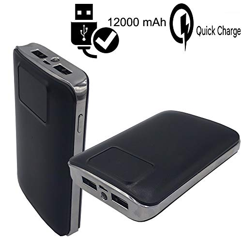 MELELILYA® Tragbares Ladegerät 12000mAh Externe Batterie 2 USB-Anschlüsse mit Digital-LCD-Display und LED-Taschenlampe Power Bank kompatibel Obi Worldphone SJ1.5, Samsung, PSP, HTC.