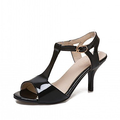 LvYuan Da donna Sandali Finta pelle PU (Poliuretano) Estate Autunno Footing Fibbia A stiletto Bianco Nero Rosa 5 - 7 cm Black