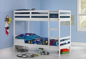 Francis Single Bunk Bed Frame White.Twin Bunk Bed Sleeper Children Kids Furniture Frame Bed