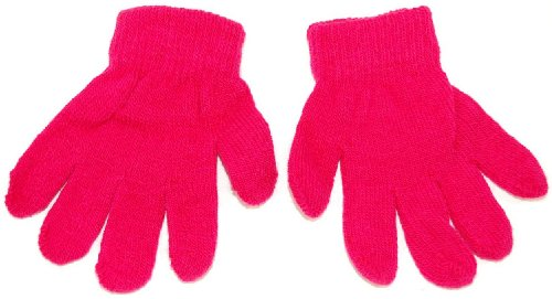 Baby toddler magic knitted gloves. Available in 6 colours; black, hot pink, navy blue, pale blue, red and winter white. (Hot Pink)