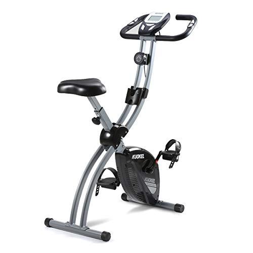 KUOKEL-Bicicleta Estática Plegable Bicicleta Exercise Bike Resistencia Variable Ruido Bajo Monitor LCD Soporte para Teléfono Bicicleta de Ejercicio