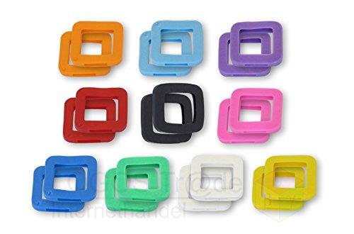 10 Schlüsselkennringe / Schlüsselkennring / Schlüsselkappe (eckig), ca. 25X23mm (20 Stück farbig sortiert)