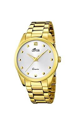 Lotus Reloj de cuarzo para mujer con blanco esfera analógica pantalla y pulsera chapado en oro de acero inoxidable 18143-/1