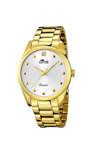 fb210bf62a4b Lotus 18143 1 – Reloj analógico para dama con pantalla dorada y correa de  acero