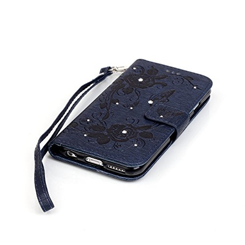 Etsue Portafoglio caso con la cinghia bling per iPhone 6 Plus/iPhone 6S Plus 5.5, lusso retrò cuoio dellunità di elaborazione copertura elegante motivo campanula lucido scintillio di strass diamante Farfalla,Profondo blu