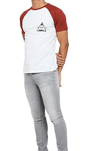 Threadbare Herren Blusen T-Shirt, Einfarbig weiß weiß Ziegelrot