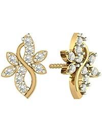 PeenZone 18k Gold Plated Flower Ear Tops For Women & Girls