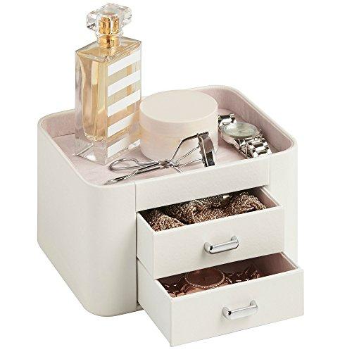 Beautify Boîte à Bijoux et Accessoires 2 tiroirs – Imitation Cuir Crème