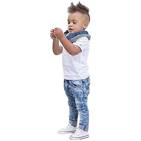 Culater® I bambini neonati manica corta T-Shirt Top + sciarpa + pantaloni vestiti (Abbigliamento bambino)