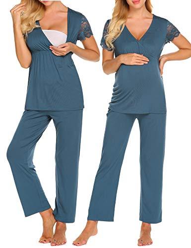 Maxmoda pigiama due pezzi premaman donna pigiami allattamento scollo a u vestaglia ragazza manica lunga con pantaloni navy xxl