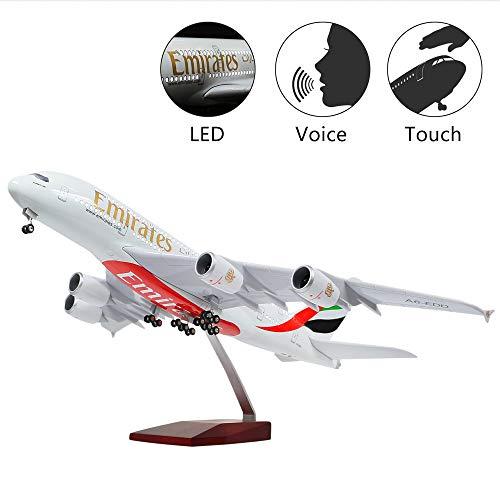 HANG OU 46cm LED-Beleuchtung 1:160 Modellflugzeug Emirates Airbus 380 mit Fahrwerk Flugzeug Geschenk oder Deko