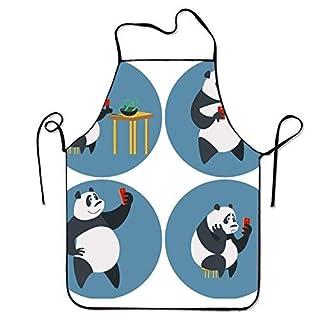 2019 Apron Comfortable Bib Apron Social Networks Addicted Panda for Chef Stitched Edges