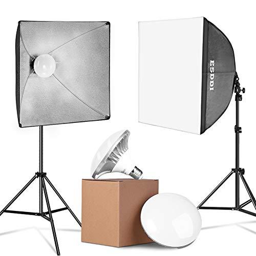 ESDDI LED Softbox Set Fotostudio 2x50x50cm Studioleuchten Set mit Lichtstativen und 2x5400K 900W energiesparende Fotolampen mit sofortiger Helligkeit ohne Wartezeit