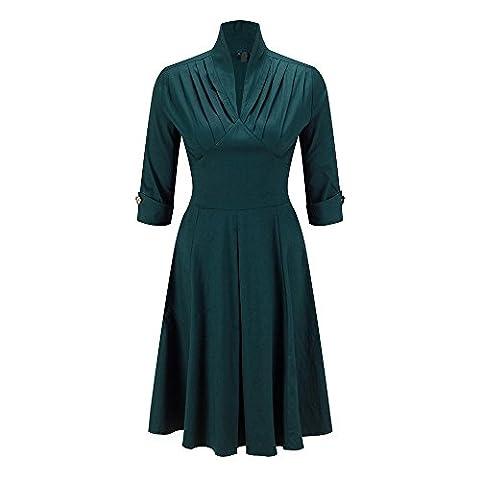 Beauty7 Robe de Femme Patineuse Col V Haut Manche 3/4 Plissee Taille Empire Vintage Casual Robe de Soiree ,Ceremonie de mariage