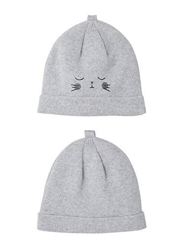 f58f82d48fe9a VERTBAUDET Lot de 2 bonnets bébé spécial maternité en coton bio GRIS CLAIR  CHINE 3/