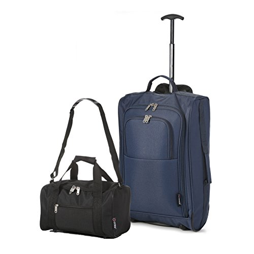 Ryanair Kabinenzugelassenes Handgepäck 55x40x20 & Zweites 35x20x20 Set - Nehmen Sie beide mit! Navy / Schwarz