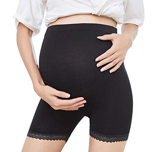 Guiran Mujer Premamá Leggins Pantalones Cortos Shorts Maternidad Negro 2XL