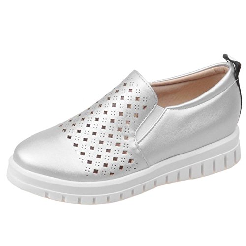 COOLCEPT Femmes Mode Breathable Forme Plate Confortable Outdoor Escarpins Chaussures Argent