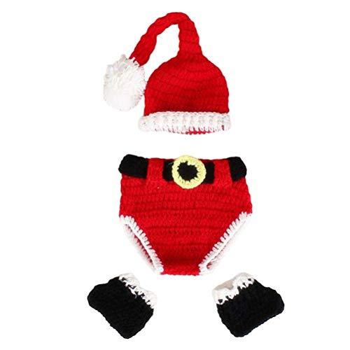 YeahiBaby Weihnachtsmannkostüm für Kleinkind,Neugeborenes Baby Santa Claus Gestrickte Outfit Fotografie Prop