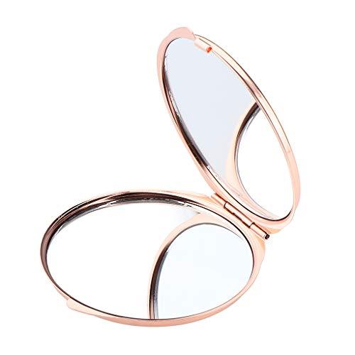 Non-brand Doppelseiten Schminkspiegel Tragbare Kosmetik, Die Kompakte Spiegel Faltbar - Rose Golden -