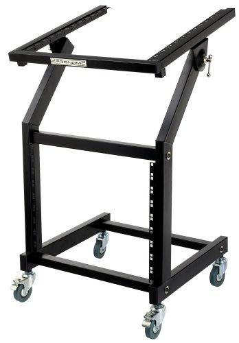 Pronomic MXS-600 mobiler Rack Wagen mit 21 Höheneinheiten und Rollen (Maschinenwagen für 19' Geräte, 12+9HE, neigbarer Einbaurahmen) Schwarz