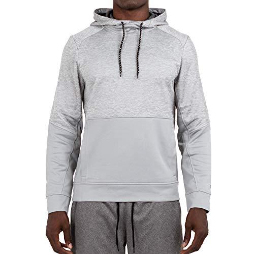 Layer 8 Herren Kapuzenpullover Performance Light Weight Training Tech Fleece Athletic Sweatshirt - Grau - Klein Tech Fleece-pullover