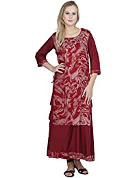 Patrorna Double Layer A Line Maroon Kurti For Women And Girls