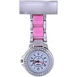 Censi Unisex Silver Diamante Bezel Pink Strap Nurse Tunic Brooch FOB Watch Analog Japanese Quartz Extra Battery