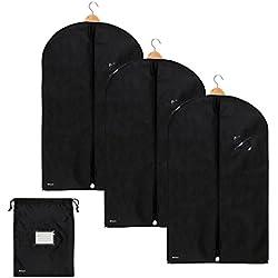 3x Premium Kleidersack von Bruce. inkl. Schuhbeutel | 100 x 60 cm | Optimierte Materialstärke von 120 GSM | Hochwertige Kleiderhülle für Anzug, Jacke und Kleid | Atmungsaktive Anzugtasche für Reisen und Lagerung | 1 Jahr Garantie