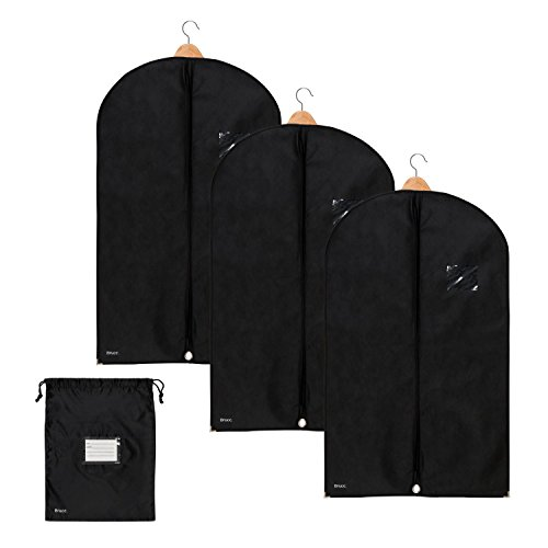Bruce. 3x Premium Kleidersack Kostenloser Schuhbeutel | Hochwertige Kleiderhülle für Anzug, Jacke und Kleid | Atmungsaktive Anzugtasche für Reisen und Lagerung | 100 x 60 cm | 1 Jahr Garantie