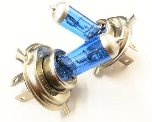 Preisvergleich Produktbild H4 12V 55W GAS - Xenon Look Optik Halogen Lampen Autolampe Long Life Birnen Super White 2x STÜCK Mit E-Prüfzeichen