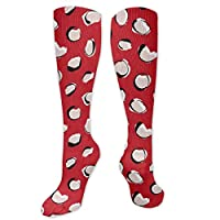 Sport Compression Socks,Leopard Spots - Kenya Red Athletic Socks,Long Tube Stockings 50cm/19.7 in