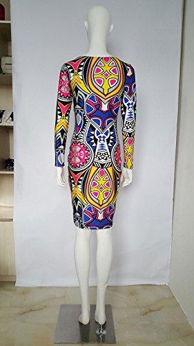 Femmes col rond Rétro mode robe de l'impression numérique moulant fourreau Comme l'image
