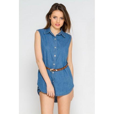 Princesse boutique - Chemise en jean bleue clair Bleu
