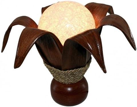 Deko-Leuchte BLÜTE, 6 Blätter, 30 cm, Tisch-Lampe aus Natur-Materialien, Stimmungsleuchte