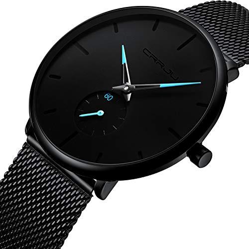 Herren Quarz Uhren Minimalistische Analoganzeige Armbanduhr mit Milanese Mesh Edelstahl Blau