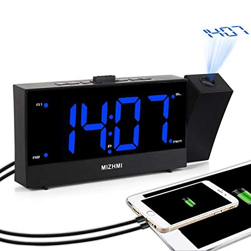 MIZHMI Loud wecker LED wecker digital wecker Projektionswecker Radio wecker mit deckenprojektion Funk Wecker mit Projektion Projection Clock USB Anschluss 180°Dreh Projektoraut Wecker