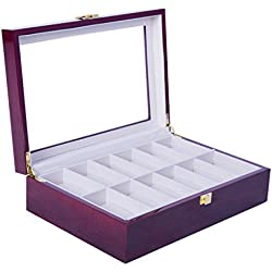 Feibrand Wooden Watch Box 12 Slots Red