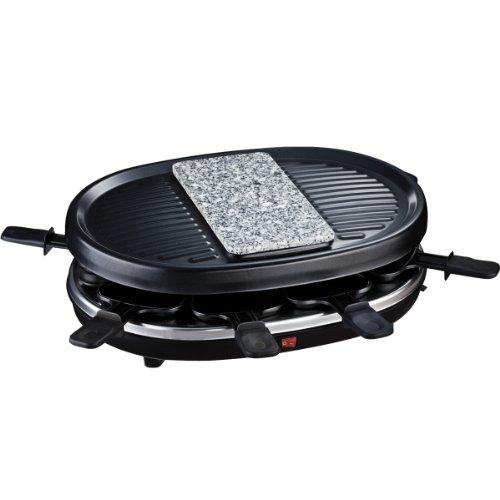 H.Koenig RP80 Raclette/Pierre Grill pour 8 Personnes Noir, 900 W