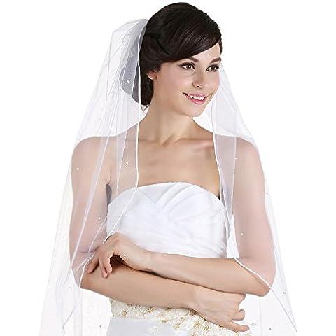 Venus Jewelry–Pendientes de mujer de 1T 1Tier sattin Rattail–borde de cristal brillantes novia boda velo