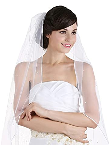 1T 1 Tier Rhinestones Crystal Sattin Rattail Edge Bridal Wedding Veil - White Color Cathedral Length 108 by Venus Jewelry