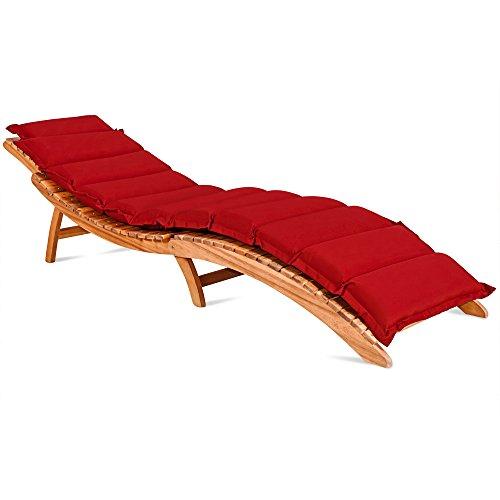 Coussin pour chaises longues - rouge - rembourré 7 cm épaisseur avec lanières