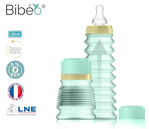 bibeo-premium-biberon-de-sortie-mint-330-ml-1-tetine-debit-rapide-8mois-bague-et-capuchon-en-matiere
