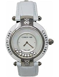 Cerruti 1881 - Reloj de pulsera (cerámica, piel, diseño de diamantes), color blanco