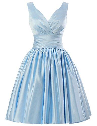 JAEDEN V-Ausschnitt Brautjungfernkleider Kurz Satin Abendkleid Ballkleid Partykleid Himmelblau