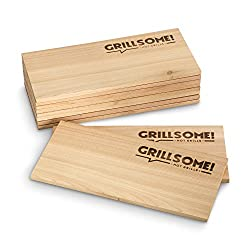 10 Grilling Planks made of Canadian Cedar Wood (30 x 14 x 0.8 cm) by Grillsome! Barbecue Boards, Smoking Planks Set of 10 (2 x Set of 5 Smooth and rough Surface) Untreated, Smoke Aroma