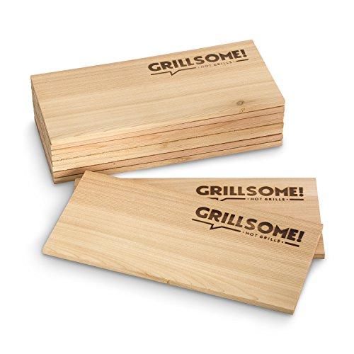 10 Räucherbretter aus kanadischem Zedernholz (30 x 14 x 0,8 cm) von Grillsome! Grillbretter, Grill-Planken 10er-Set (2 x 5er Set glatte und raue Oberfläche) unbehandelt, Grillzubehör für BBQ